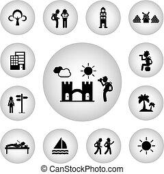 reiziger, schooltas, pictogram, ontdekkingsreiziger, basis