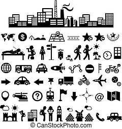 reiziger, set, ontdekkingsreiziger, pictogram