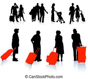 reiziger, silhouette, verzameling