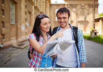 reizigers, vrolijke
