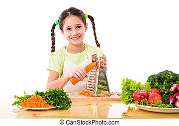 reja, niña, zanahorias