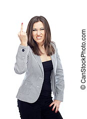 Reject - Angry businesswoman making obscene gesture