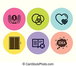 Reject book, Lift and Laureate award icons set. Euler diagram, Hearts and Idea signs. Delete article, Elevator. Vector