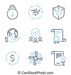 Reject certificate, Scroll down and Wind energy icons set. ...