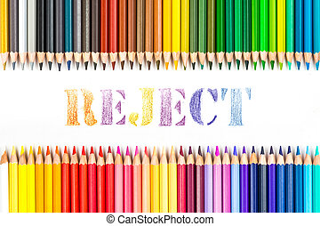 Reject drawing by color pencils on white background
