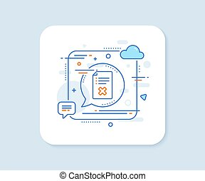 Reject file line icon. Decline document sign. Vector
