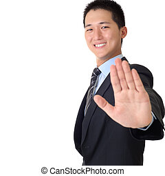 reject gesture - Happy Asian business man with reject...