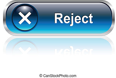 reject icon, button - reject, deny symbol icon, button, blue...