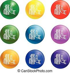 Reject money bribery icons set vector - Reject money bribery...