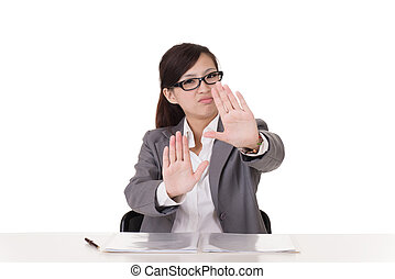 reject - Asian business woman give you rejected sign,...