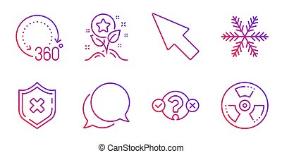 Reject protection, Loyalty points and 360 degrees icons set. Quiz test, Mouse cursor and Snowflake signs. Vector