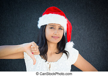 Rejected - Closeup portrait of unhappy, pissed off christmas...