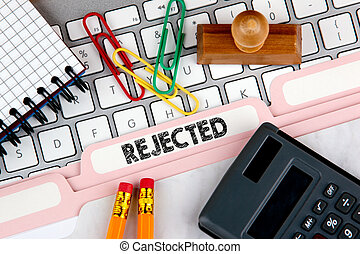Rejected concept. Folder Register on Background of Computer Keyboard