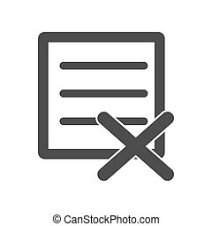 Rejected document, vector icon for websites and apps. Stock illustration isolated on a white background.