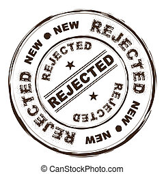 rejected ink stamp - rejected brown rubber ink stamp with...