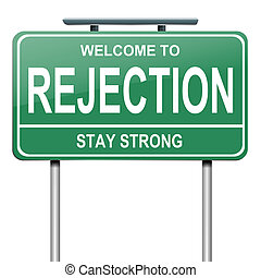 Illustration depicting a green roadsign with a rejection concept. White background.