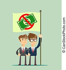 Rejection money, concept. Businessman holding flag with No...