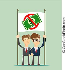 Rejection money, concept. Businessman holding white flag...