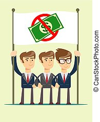 Rejection money, concept. Businessman holding white flag...