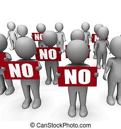 Rejeição, caráteres, não, proibição, segurando, sinais, má
