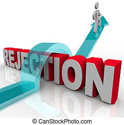 rejeição, obtendo, sobre, -, pular, seta, palavra