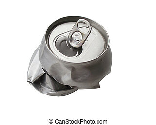 Rejekted tin - Empty and crumpled tin on white background