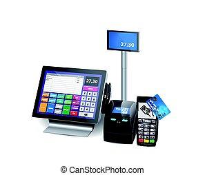 rejestr, -, karta, detal, terminal, wyposażenie, odbijacz, wpłata, sklep, gotówka