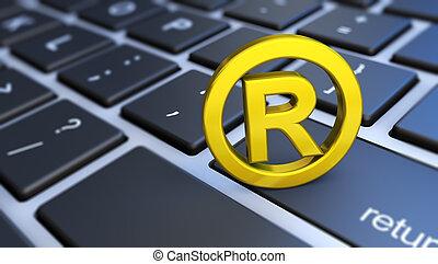 rejestrowy, komputer, trademark symbol, klawiatura
