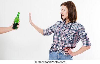 rejeté, femme, alcool, bouteille, isolé, femme, alcoolisme, fond, concept, blanc