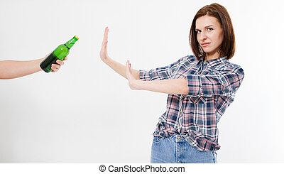 rejeté, femme, bouteille, alcool, mignon, femme, alcoolisme, concept