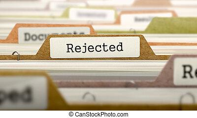 rejeté, label., concept, fichier