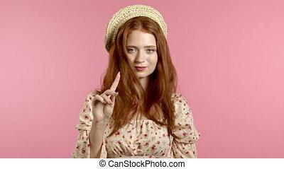 rejeter, non, arrière-plan., femme, signe, girl, faire, désapprouver, ne pas être d'accord, portrait, rose, gesture., nier, négation, joli, doigt