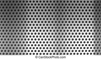 rejilla del metal, plano de fondo, perforado, holed, o