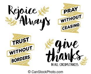 Rejoice, Pray, Give, Faith Emblem Set - Rejoice Always, Pray...