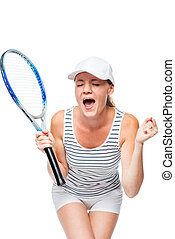 Rejoicing victory emotional tennis player on a white background