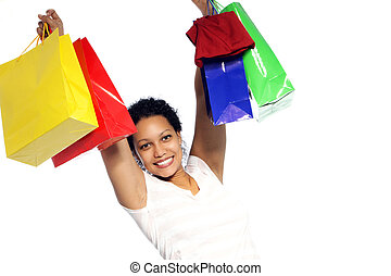 Rejoicing woman with her shopping