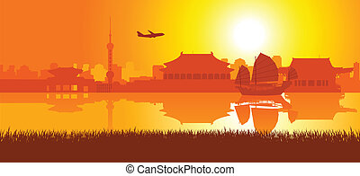 rejse, øst, omkring, asien