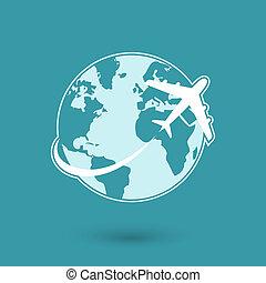 rejse, globalt netværk, flyvemaskine, ikon