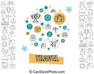 rejse, og, transport, begreb