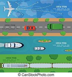 rejse, og, transport, horisontale bannere, hos, skib, automobilen, flyvemaskine, tog, top udsigt, vektor, illustration