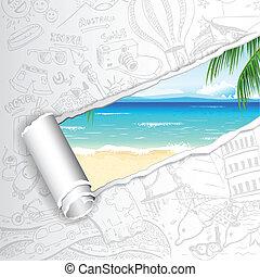 rejse, strand, baggrund, hav