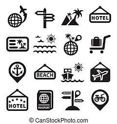 rejse, vektor, iconerne