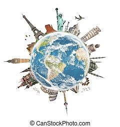 rejse, verdenen, monument, begreb