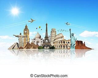 rejse, verdenen, monumenter, begreb