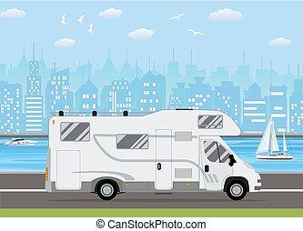 rejsende, lastbil, familie