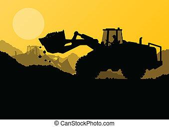 rejst, gravemaskine, spand, site, lader, vektor, konstruktion
