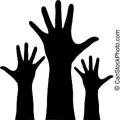 rejste hænder