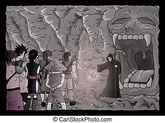 rejtély, barlang, ábra
