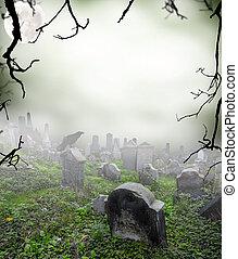 rejtély, köd, öreg, temető, romos