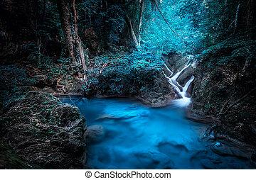 rejtély, waterfall.., esőerdő, éjszaka, kanchanaburi,...